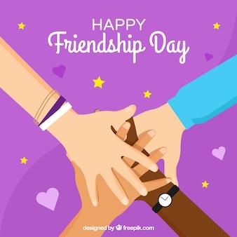 Contexte de la journée de l'amitié avec soutien de la main