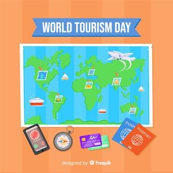 Contexte de la journée du tourisme design plat
