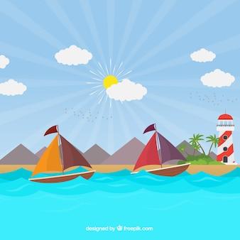 Contexte de la journée ensoleillée avec les bateaux et le phare