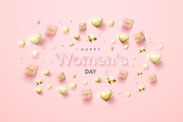 Contexte de la journée des femmes avec des coffrets cadeaux et des ballons d'amour éparpillés.