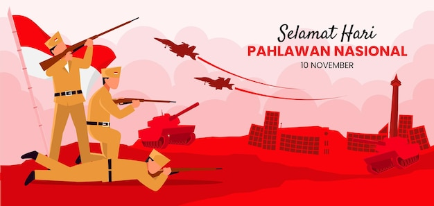 Contexte de la journée des héros de pahlawan avec un soldat tenant une arme
