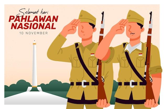 Contexte de la journée des héros de pahlawan avec des soldats
