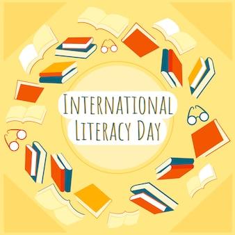 Contexte de la journée internationale de l'alphabétisation avec cadre de livres