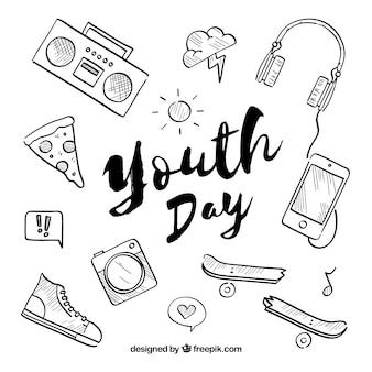 Contexte de la journée de la jeunesse avec différents éléments