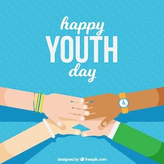 Contexte de la journée de la jeunesse avec les mains jointes