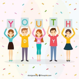 Contexte de la journée de la jeunesse avec des personnes unies