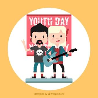 Contexte de la journée de la jeunesse avec les rockers