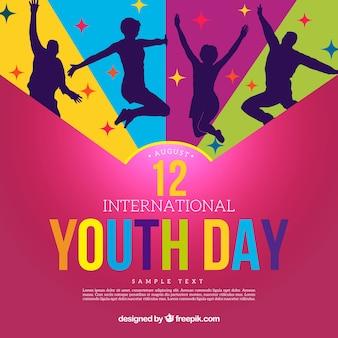 Contexte de la journée de la jeunesse avec des silhouettes de personnes