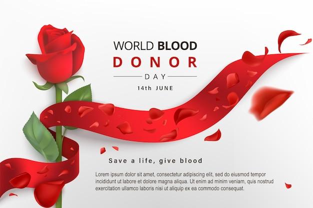 Contexte de la journée mondiale des donneurs de sang avec ruban enveloppé de rose