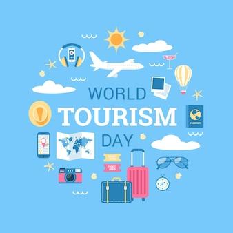 Contexte de la journée mondiale du tourisme design plat