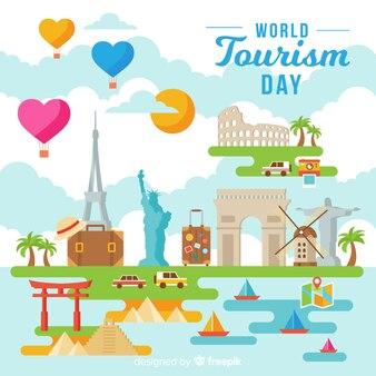 Contexte de la journée mondiale du tourisme avec des monuments au design plat