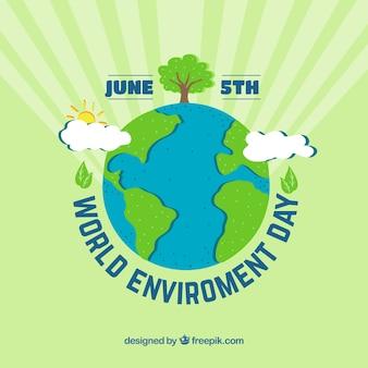 Contexte de la journée mondiale de l'environnement avec la terre et les rayons du soleil