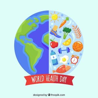 Contexte de la journée mondiale de la santé dans un style plat
