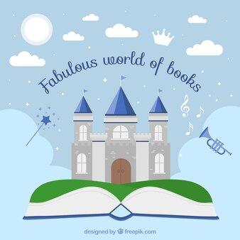 Contexte de livre ouvert avec beau château