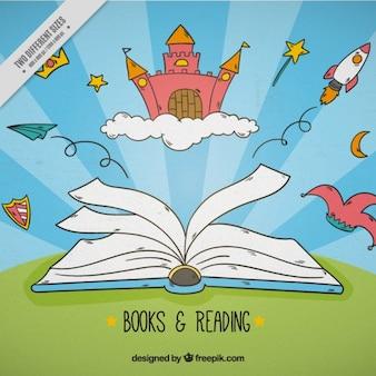 Contexte de livre ouvert avec des objets de fées