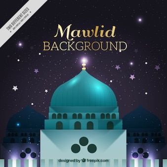 Contexte de l'mahoma prophète avec mosquée