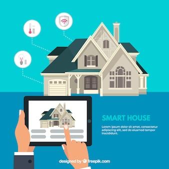 Contexte de maison intelligente avec contrôle de smartphone