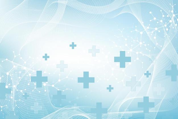 Contexte médical abstrait recherche sur l'adn, molécule, génétique, génome, chaîne d'adn. concept d'art d'analyse génétique avec des hexagones, des lignes, des points. molécule de concept de réseau de biotechnologie, illustration vectorielle