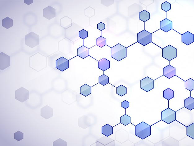 Contexte médical créatif avec structure de molécules plates brillantes.