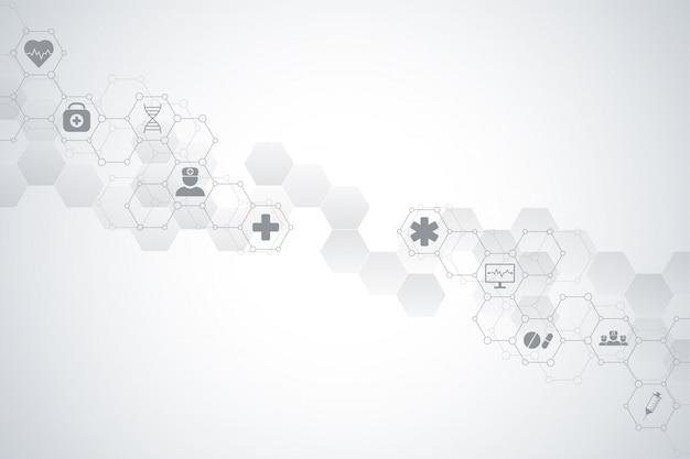 Contexte médical et scientifique de la santé avec des icônes et des symboles. technologie d'innovation.