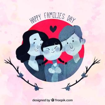 Contexte mignon avec une famille heureuse en style aquarelle