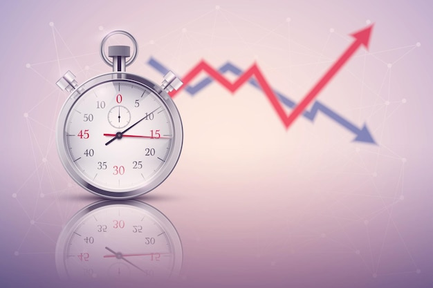 Contexte moderne avec chronomètre analogique.