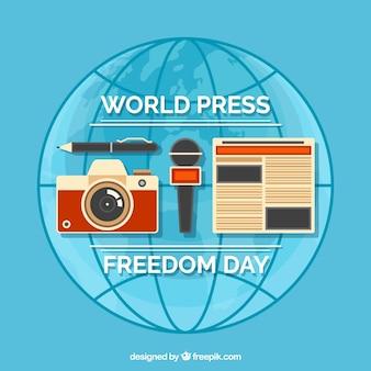 Contexte mondial de la journée de presse en design plat