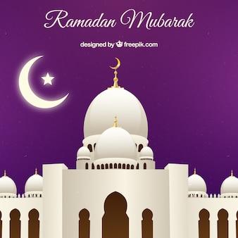Contexte de la mosquée blanche de ramadan