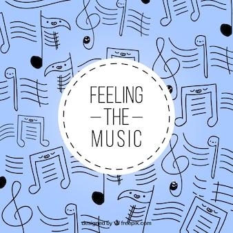Contexte de notes musicales dessinées à la main