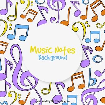 Contexte de notes de musique multicolore
