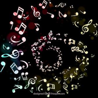 Contexte avec des notes de musique en spirale