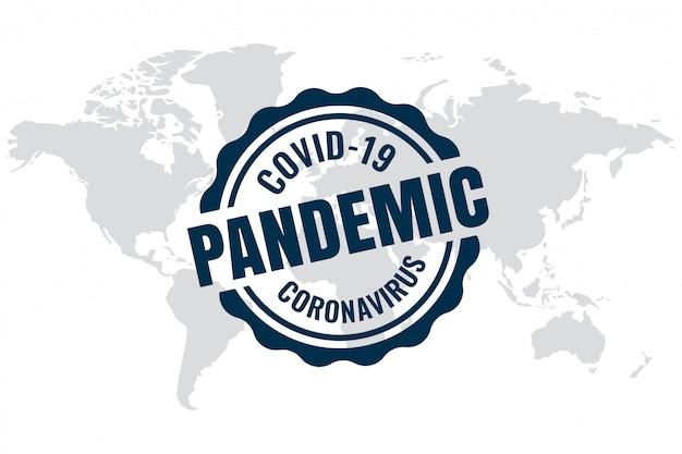 Contexte pandémique de l'épidémie mondiale de covid-19 avec carte du monde