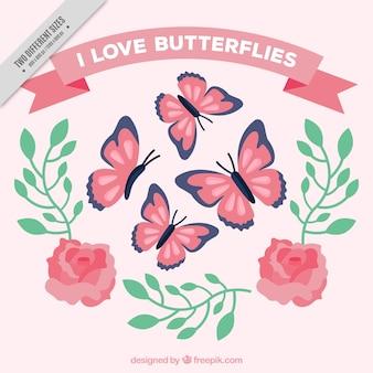 Contexte des papillons et des roses avec des feuilles