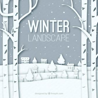 Contexte de paysage d'hiver