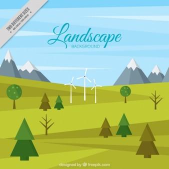 Contexte d'un paysage avec des moulins à vent