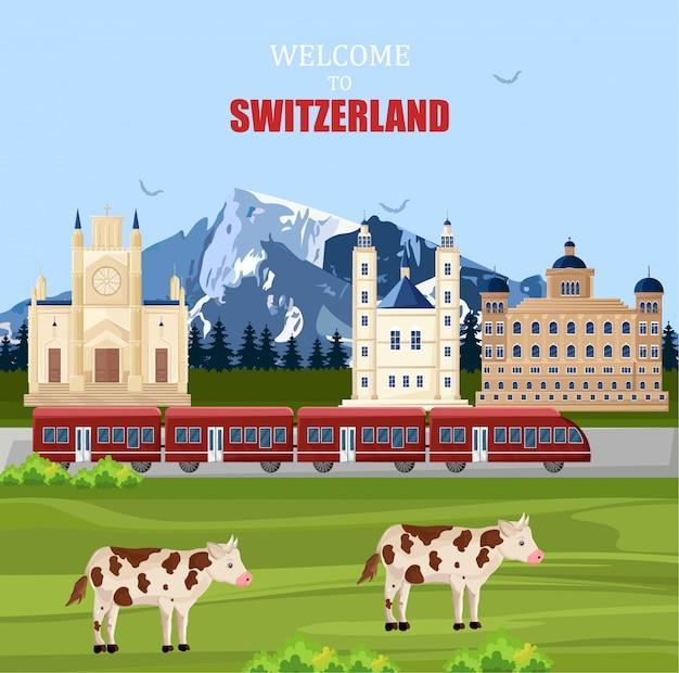 Contexte de paysage de suisse