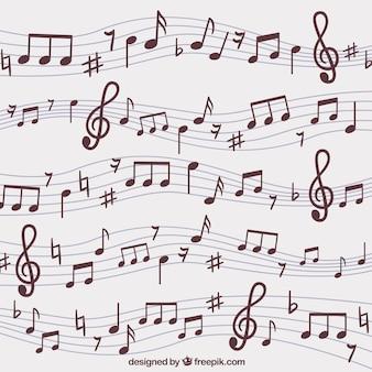 Contexte de pentagramas tirés à la main et notes de musique