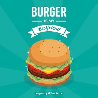 Contexte plat d'hamburger délicieux
