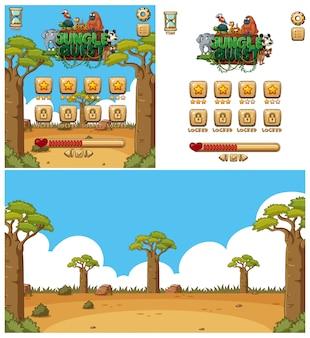 Contexte pour le jeu d'ordinateur avec des animaux sur le terrain