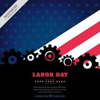 Contexte pour le jour du travail avec le drapeau et les engrenages américain