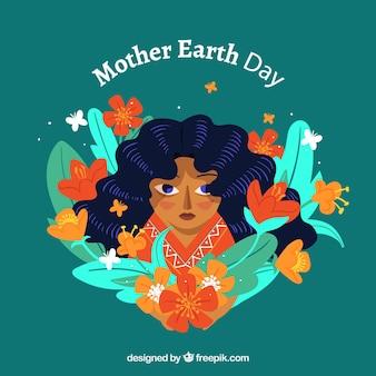 Contexte pour la journée mondiale de la terre en design plat