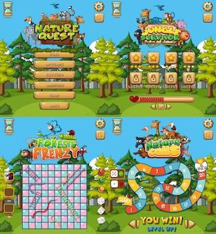 Contexte pour quatre jeux avec cadre forestier
