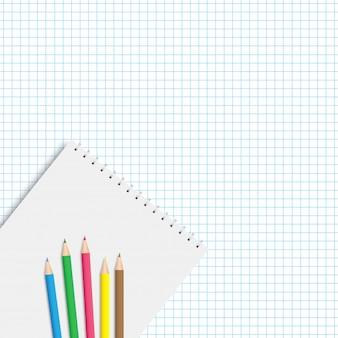Contexte pour la rentrée des classes avec carnet et crayons