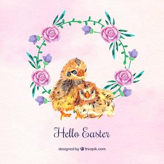 Contexte des poussins avec des roses d'aquarelle couronne