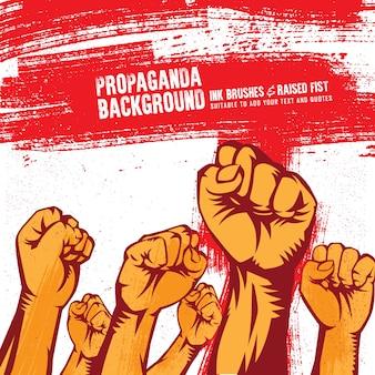 Contexte de la propagande vintage avec le poing