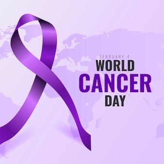 Contexte réaliste de la journée mondiale du cancer avec ruban