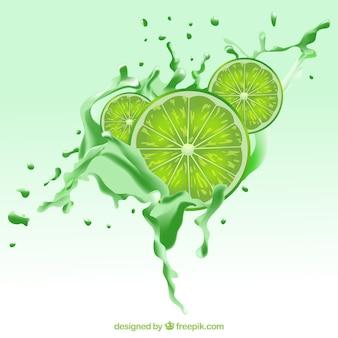 Contexte réaliste avec des tranches de citron vert