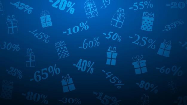 Contexte des remises et des offres spéciales, composé d'inscriptions et de coffrets cadeaux, aux couleurs bleues