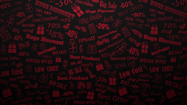 Contexte des remises et des offres spéciales, composé d'inscriptions et de coffrets cadeaux, rouge sur noir