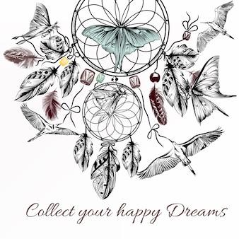 Contexte de rêve nautique dessiné à la main avec des oiseaux et des papillons